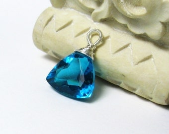 25% OFF Swiss Blue Quartz Gemstone Sterling Pendant, add a chain