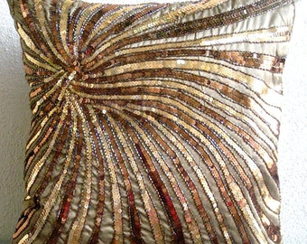 "Handmade Brown Cushion Covers, 16""x16"" Silk Pillows Covers For Couch, Square  Sequins & Beaded Spiral Glitter Pillows Cover - Gold Bloom"