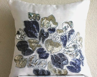 Decorative Throw Pillow Covers Couch Pillows Sofa 16 Inches Silk Pillow Accent Pillow Cover Embellished Sequins Beads Embroidered Wild Bloom