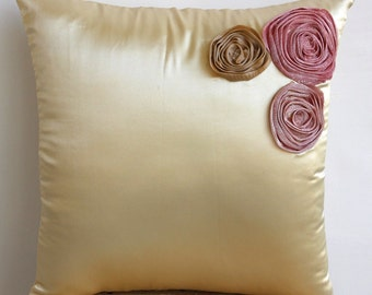 Decorative Throw Pillow Covers Accent Pillows Couch 20 Inch Satin Pillow Cover Dreamy Roses Organza Tissue Embroidered Home Decor Housewares