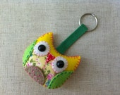 Yellow Colorful Owl Plush Keychain No.6