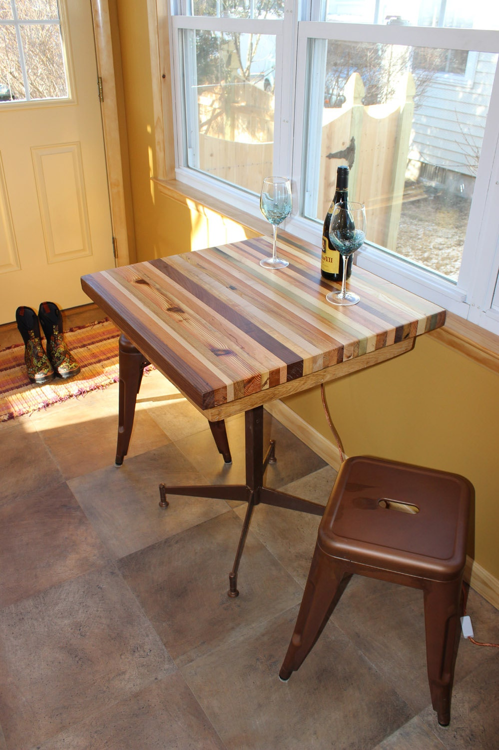 Buy Butcher Block Table Top: Butcher Block Kitchen Table With Metal Base By