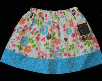 Girls Twirl Skirt  Owls Birds and Flowers Size 4  Years  hand made  ready to ship