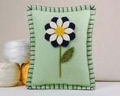 Wool Felt Pincushion • Blue, Ivory and Gold Flower on Light Green • Hand Embroidered • Pin Pillow