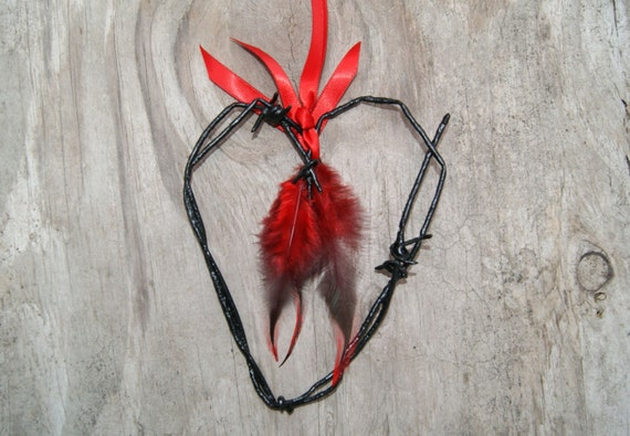 Vintage Barbed Wire Heart - Valentines Day - DARK but SOFT Hearted