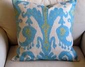 IKAT Aqua Blue Lime Green designer pillow cover 18x18 20x20 22x22 24x24 26x26 12x20 13x26