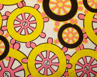 Vintage Cotton Fabric - Anchors Away Over Scale Nautical Print - Hot Pink and Yellow - Wamsutta Mills