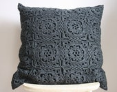 Big grey crochet pillow