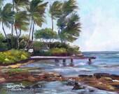 WAILUPE BEACH PARK Original Plein Air Oil Painting Art Artwork Ocean Pier Paradise Peninsula Oahu Hawaii Loa Ridge Hawaiian Palm Tree Surf