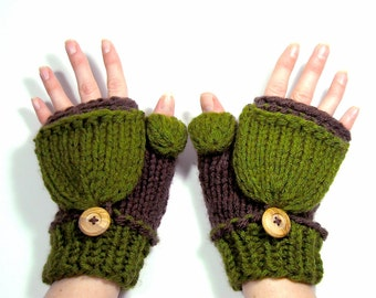 Knit Mittens that Convert to Fingerless Gloves, Green and Brown