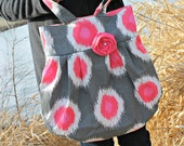 Large Grey and Pink Ikat Polka Dot Handbag