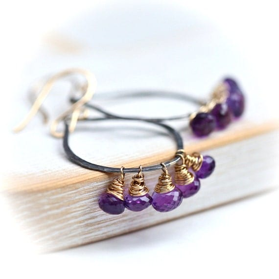 Gold Filled Wrapped Amethyst on Blackened Sterling Silver Hoops Earrings