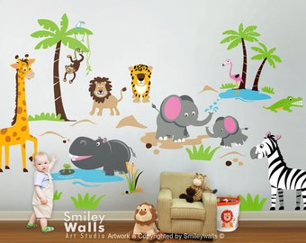 Safari Animals Wall Decal Jungle Animals Wall Decal Monkey Giraffe Elephant Lion Zebra Hippo Nursery Kids Playroom Room Sticker Art