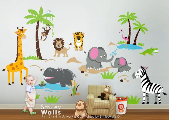 Safari animals wall decal jungle animals wall decal monkey for Baby room jungle mural