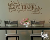 Give Thanks With a Grateful Heart Thanksgiving or Anytime Scripture Wall Decal You Choose Color FREE US SHIPPING