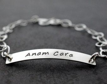 """Friendship Bracelet - Anam Cara """"Friend of My Soul"""" - Personalized ID Style Bracelet in Sterling Silver - Best Friend Gift"""