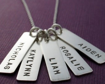 Grandmother's Personalized Name Necklace - FIVE Handstamped Name Charms in Sterling Silver - Rectangular Bar Necklace for Mom or Grandma