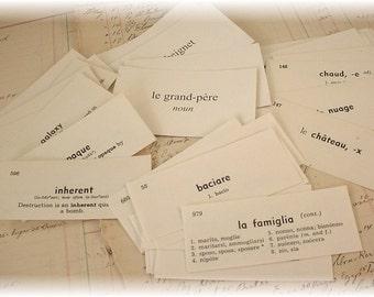 ITaLiAn, FrEnCh,EnGliSh Vocabulary cards set of 40 Mixed lot