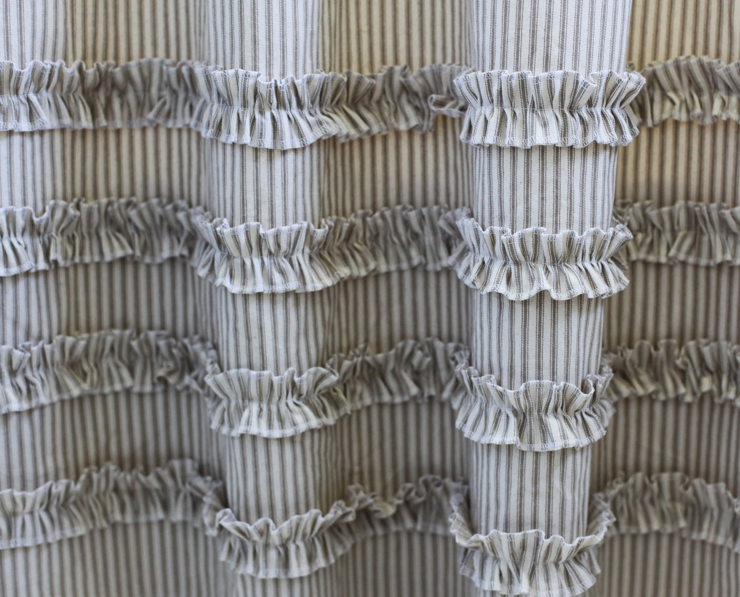 Vintage Ticking Stripe Shower Curtain With Ruffles 4 Colors