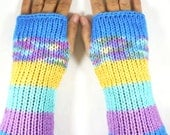 Knit Fingerless Gloves Knit Fingerless Mittens Knit Hand Warmers Knit Arm Warmers Knit Wrist Warmers Striped Knit Gloves Blue Purple Yellow