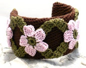 On Sale Marked Down 25% Crochet Bracelet Fiber Bracelet  Cuff Chocolate Brown Pink Olive Green Flower Motif