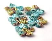 Crochet Applique Mini Flower Motif Flower Embellishment Sage Moss Chartreuse Crochet Flower Applique Crochet Motif Crochet Flower Motif