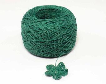 Crochet Thread 3 Ply Linen Thread Kelly Green Linen Yarn Specialty Thread Tatting Thread Eco Friendly Natural Flax Thread
