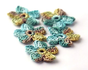 Crochet Applique Mini Flower Motif Flower Embellishment Sage Moss Chartreuse Crochet Flower Applique Crochet Motif Crochet Flower Motif