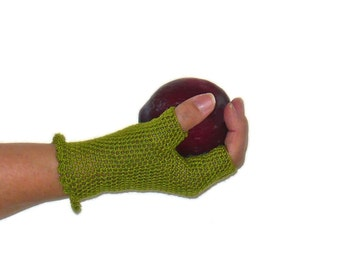 Crochet Gloves Retro Vintage Style Steampunk Lace Fishnet Fingerless Gloves Chartreuse Green Spring Gloves Summer Gloves