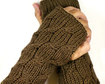 Knit Fingerless Mittens Brown Cable Gloves Gauntlets Mocha Winter Accessories Womens Gloves Winter Gloves Fall Fashion Warm Gloves