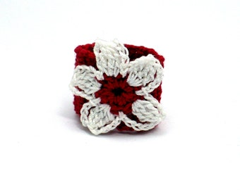 Crochet Ring Fiber Ring  Flower Applique White with Red on Red Band