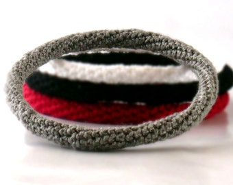 Crochet Bracelet Fiber Bracelet  Bangle Fine Thread Icord Grey