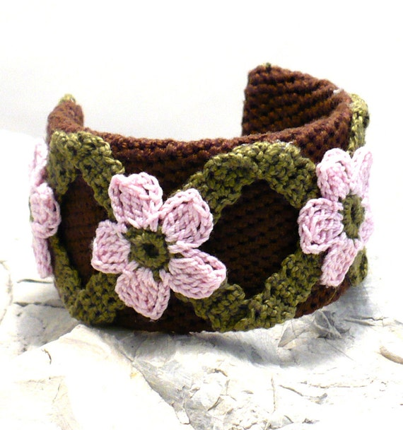On Sale Marked Down 25% Crochet Bracelet Fiber Bracelet  Cuff Chocolate Brown Pink Olive Green Flower Motif