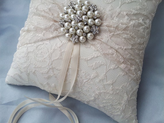 ring bearer pillow ivory ring bearer pillow lace ring pillow pearl rhinestone 29481