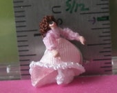 144th scale woman in pink  - micro-miniature, posable doll