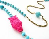 Owl necklace, beadwork, vintage magenta lucite owl aqua blue turquoise long beaded necklace Valentines jewelry