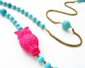Owl necklace, beadwork, vintage magenta lucite owl aqua blue turquoise long beaded necklace Valentines jewelry