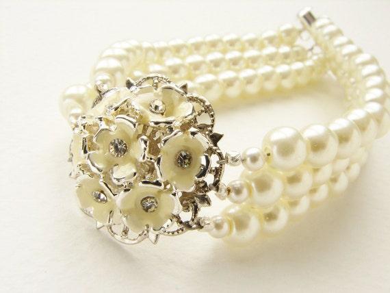 Bridal Flower Bracelet : Bridal bracelet hydrangea flower pearl cuff