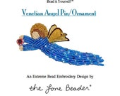 PDF File: Venetian Angel Pin Ornament Beading Pattern Beadwork Tutorial (For Personal Use Only) Free Ship