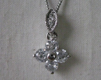 Crystal Rhinestone Silver Necklace Vintage Clear Pendant