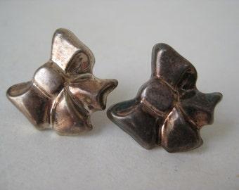 Bow Sterling Silver Earrings Pierced Post Vintage 925