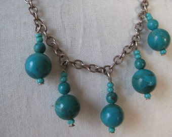 Turquoise Dangle Necklace Sterling Silver Vintage 925