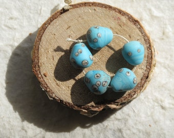 5 TINY Turquoise Blue Speckled Birds Egg Beads Handmade Lampwork Glass