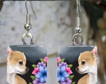 Art Glass Earrings Dog 77 Chihuahua Jewelry painting by L.Dumas