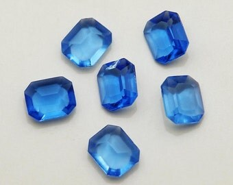 6 12x10 Unfoiled, sapphire glass octagon rhinestones - vintage 1950's