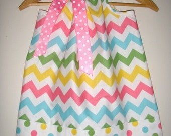 Chevron pillowcase dress Confetti Chevron pillowcase dress Riley Blake fabric  3,6,9,12,18, months ,2t,3t