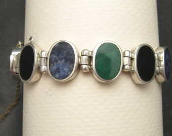 Sterling Gemstone Bracelet 950 Amalia Vintage Sterling Jewelry B5109