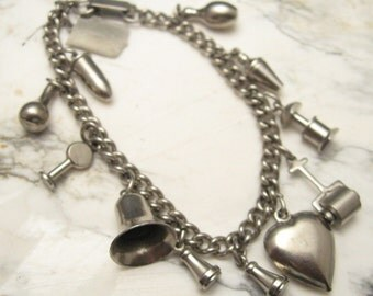 Vintage Charm Bracelet Fabulous Forties Retro Jewelry B5481
