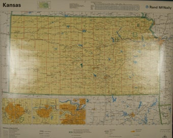 SALE WAS 45 Vintage Rand McNally Kansas Classroom Wall Map