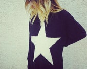 black and white star turtleneck oversized sweater size s/m